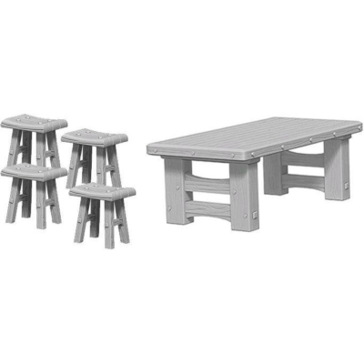 WizKids Deep Cuts: Wooden Table & Stools
