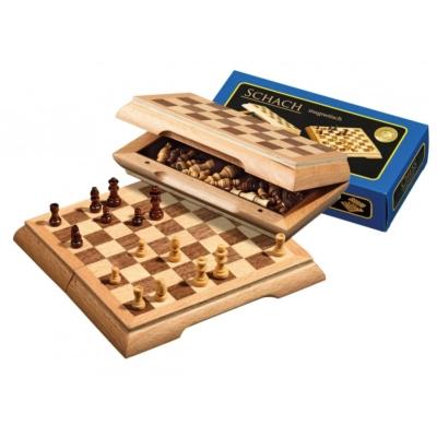 Úti sakk-készlet fából, mágneses - 2716