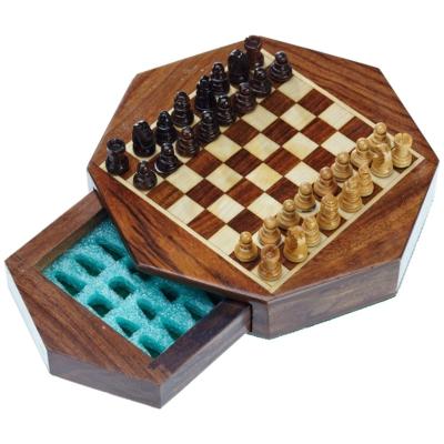 Úti sakk-készlet fából, nyolcszögletű, mágneses - 2718