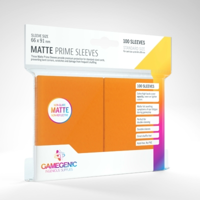 GameGenic Matte Prime Sleeves, narancs - 66x91mm (100 db/csomag)