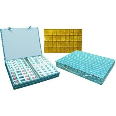 Mahjong fehér/arany urea kövekkel, zöld textil bevonatú dobozban - 720401