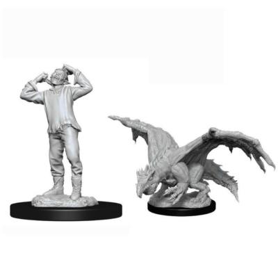 D&D Nolzur's Marvelous Miniatures: Green Dragon Wyrmling & Afflicted Elf