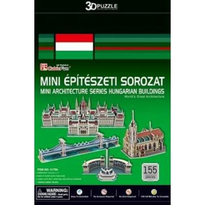 3D-puzzle mini magyar épületek (Parlament,Mátyás-templom,Hősök tere,Lánchíd)