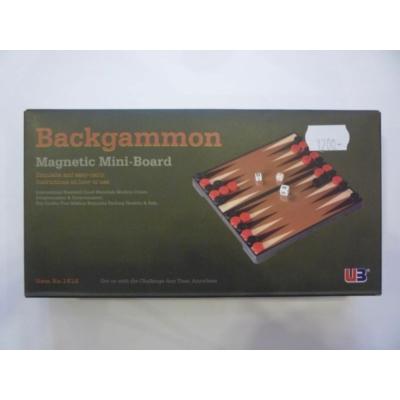 Összehajth. mágn. backgammon, műanyag, 16,5x16,5x2,5cm - 1516