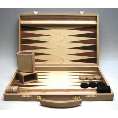 Backgammon fa kivitelben, fogantyúval, intarziás, 35x23 cm-es - 601117