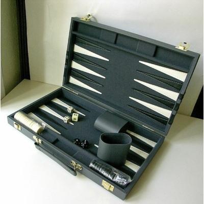 Backgammon - szürke műbőr koffer (38cm) - 604165