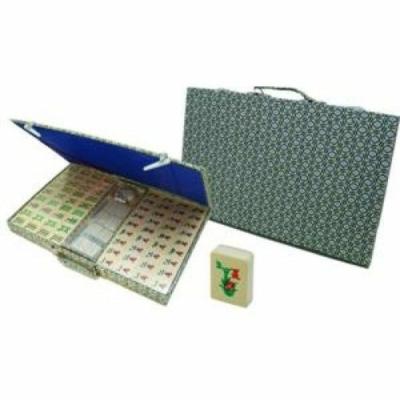 Mahjong bambusz kövekkel, zöld textil bevonatú dobozban - 720390