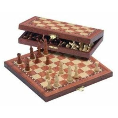 Fa sakk mágneses - intarziás úti sakk (40cm) - 672714
