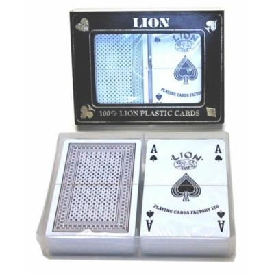 Lion 100% plasztikkártya, 2x55 lap, kis index, müanyag dobozban 750211