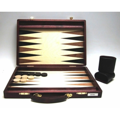Backgammon sötétbarna fa fogantyúval, intarziás, 38x26 cm-es - 601163
