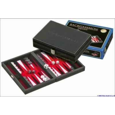 601711 Backgammon 23 cm, fekete műbőr