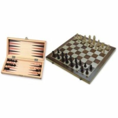 Sakk és Backgammon fából, 29 cm 670016