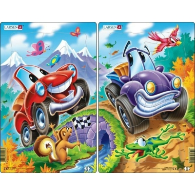 Larsen midi puzzle 12 db-os Mókás autók - U6