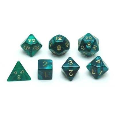 Dobókocka készlet, 7 darabos, zöld márvány/gyöngy - 731853