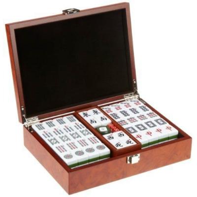 Mahjong készlet műanyag kövekkel, fadobozban - 3166